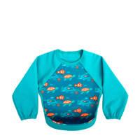 Bibetta mouwslab met vissen turquoise, Vis turquoise