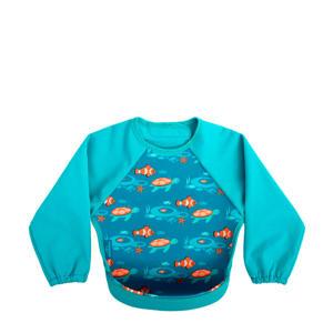 mouwslab met vissen turquoise