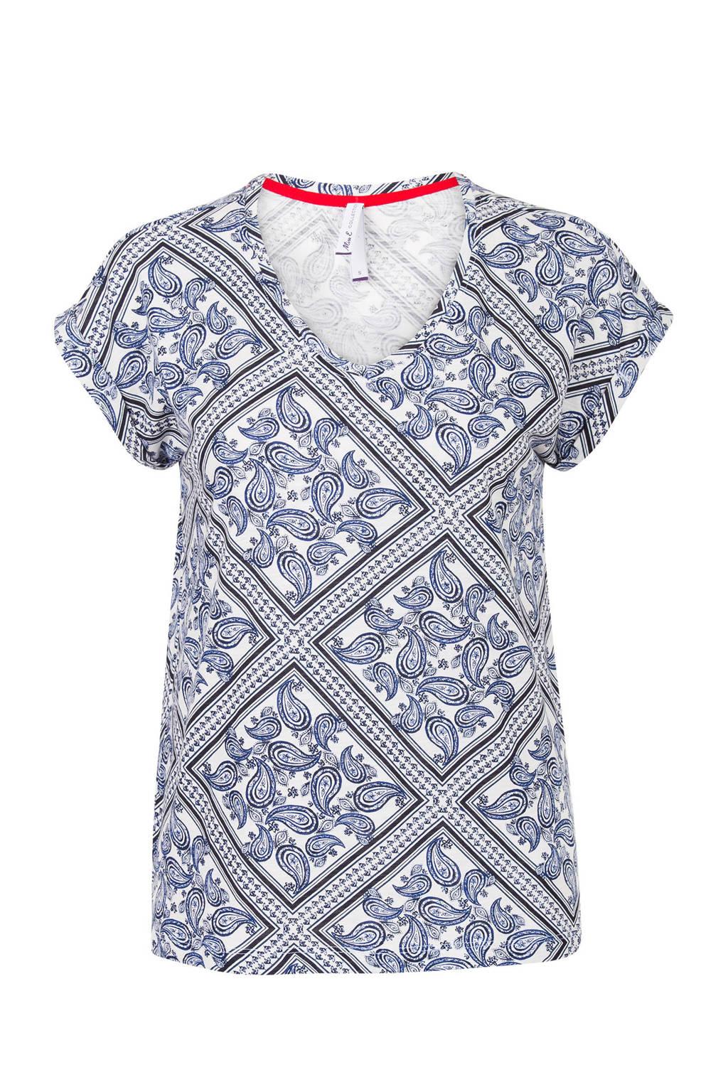 Miss Etam Regulier T-shirt met paisley print blauw, Blauw/wit