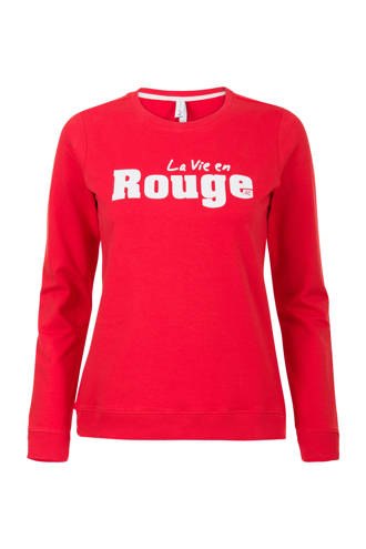 Regulier sweater met tekstprint rood