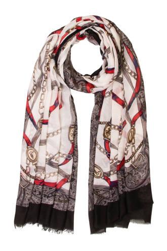 Accessoires sjaal met ketting dessin zwart