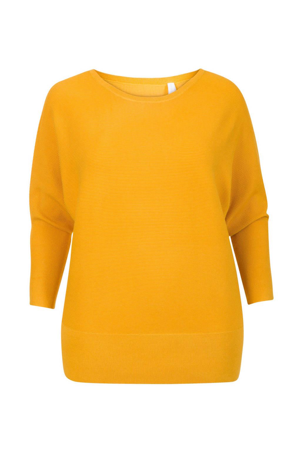 Miss Etam Plus ribgebreide trui geel, Geel