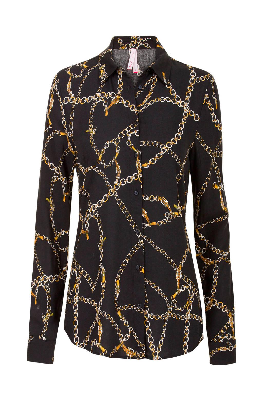 Miss Etam Lang blouse met ketting print zwart, Zwart