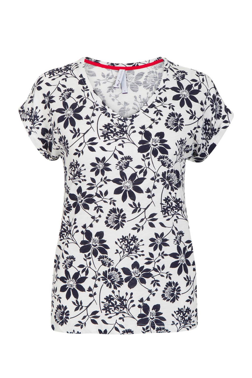 Miss Etam Regulier T-shirt bloemenprint, Wit