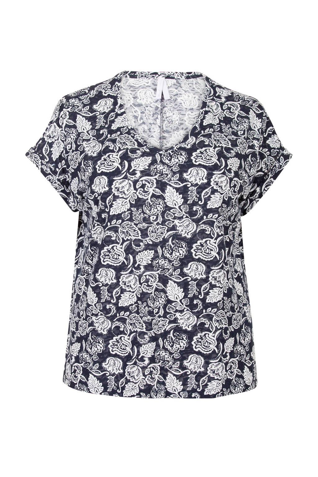 Miss Etam Plus T-shirt bloemenprint, Wit