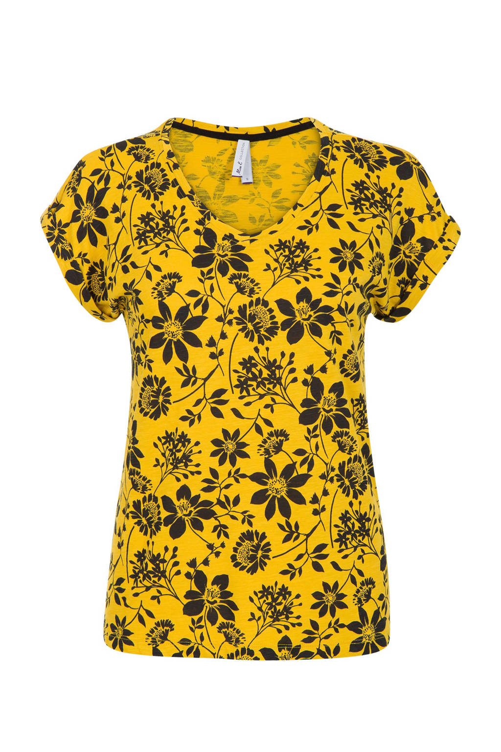 Miss Etam Regulier T-shirt met bloemenprint, Geel