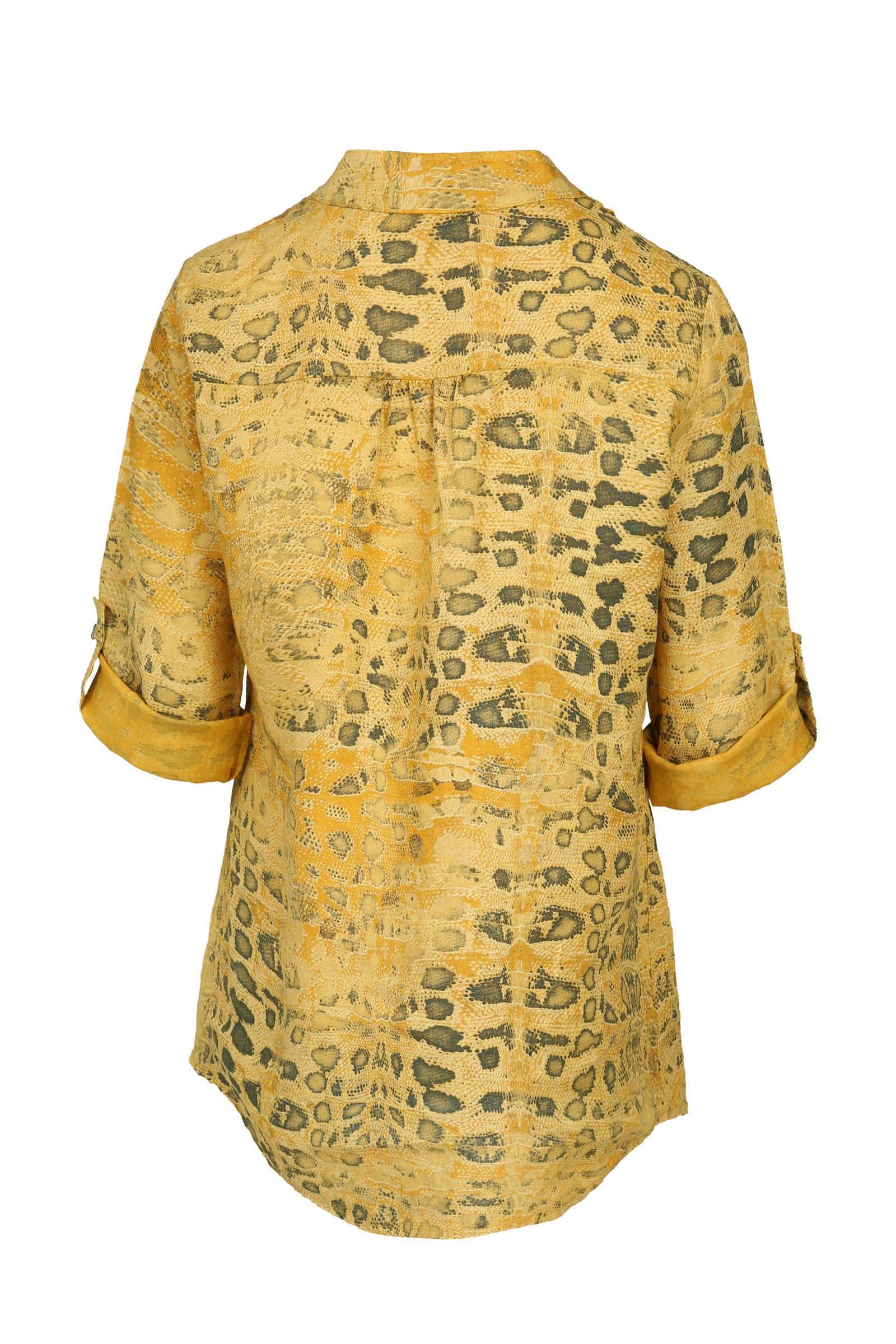 slangenprint linnen Cassis met en kant blouse gtqxwF