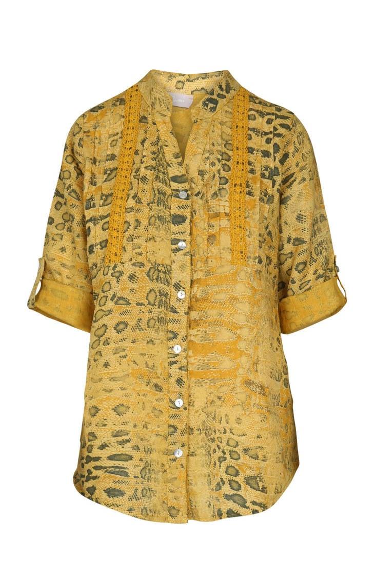 slangenprint met linnen en blouse kant Cassis nwOtaqxCC