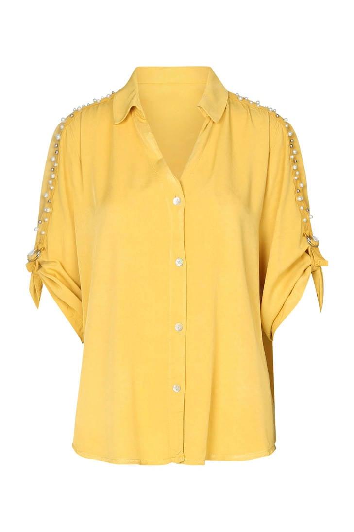 geel blouse met blouse blouse geel parels Cassis parels Cassis met Cassis parels met xwq74BA