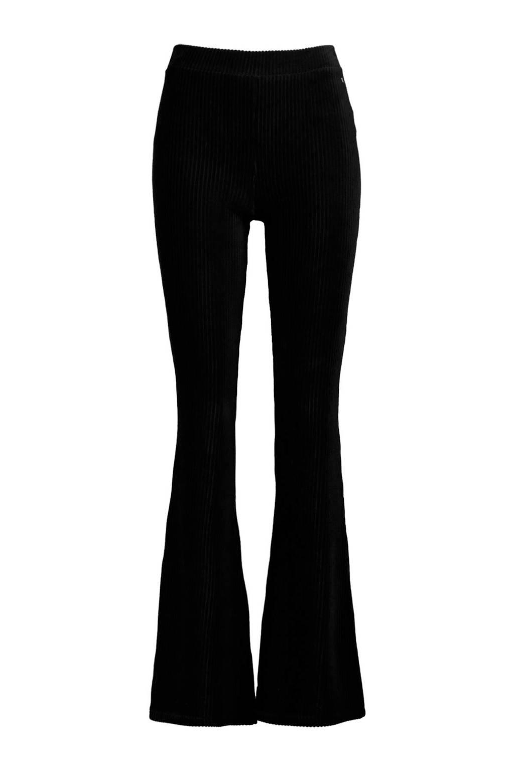 America Today corduroy flared legging met textuur zwart, Zwart