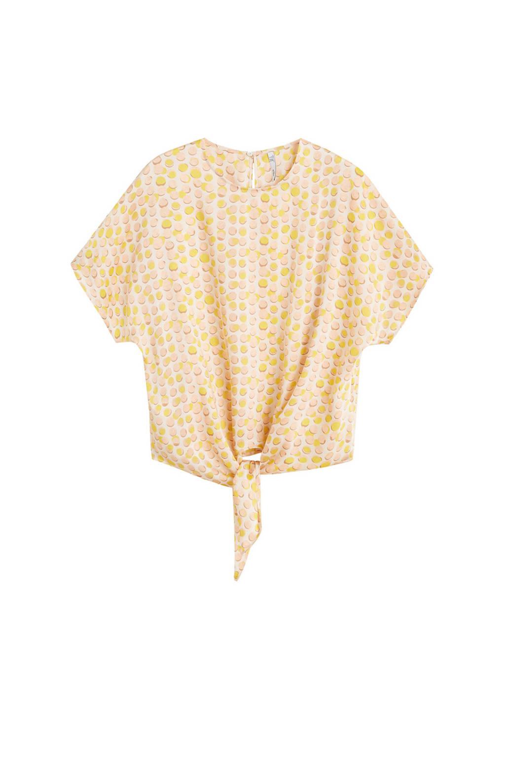 Mango top met knoopdetail, Ecru/geel