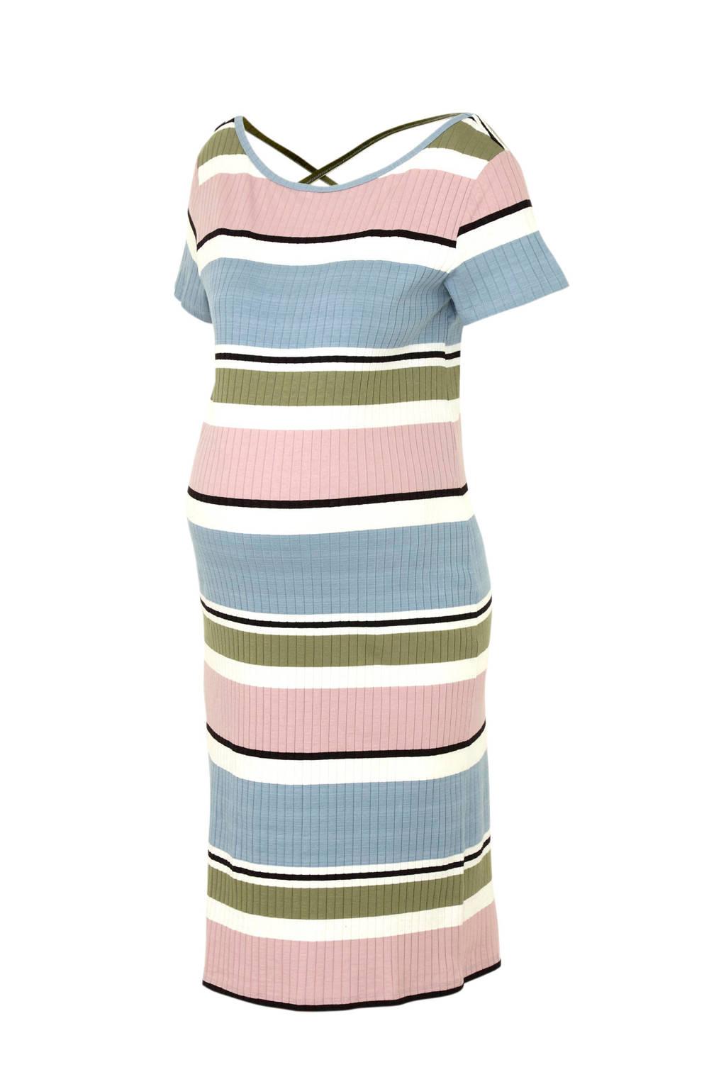 MAMA-LICIOUS zwangerschap jurk Newaura met rugaccent, Lichtblauw/ roze/ groen