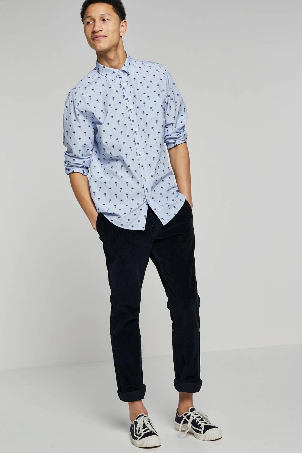 Kultivate regular fit overhemd met print blauw, Blauw