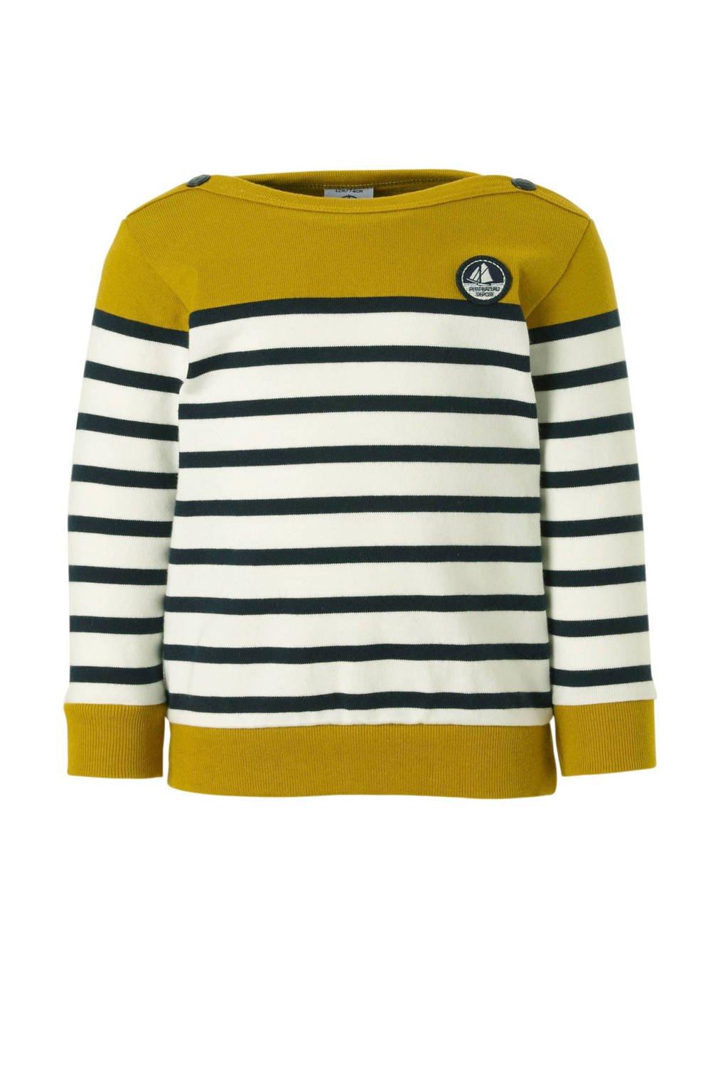 Petit Bateau gestreepte sweater, Limegroen/ zwart/ off white