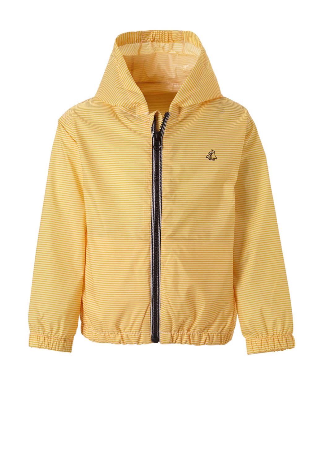 Petit Bateau gestreepte jas geel, Geel/ wit
