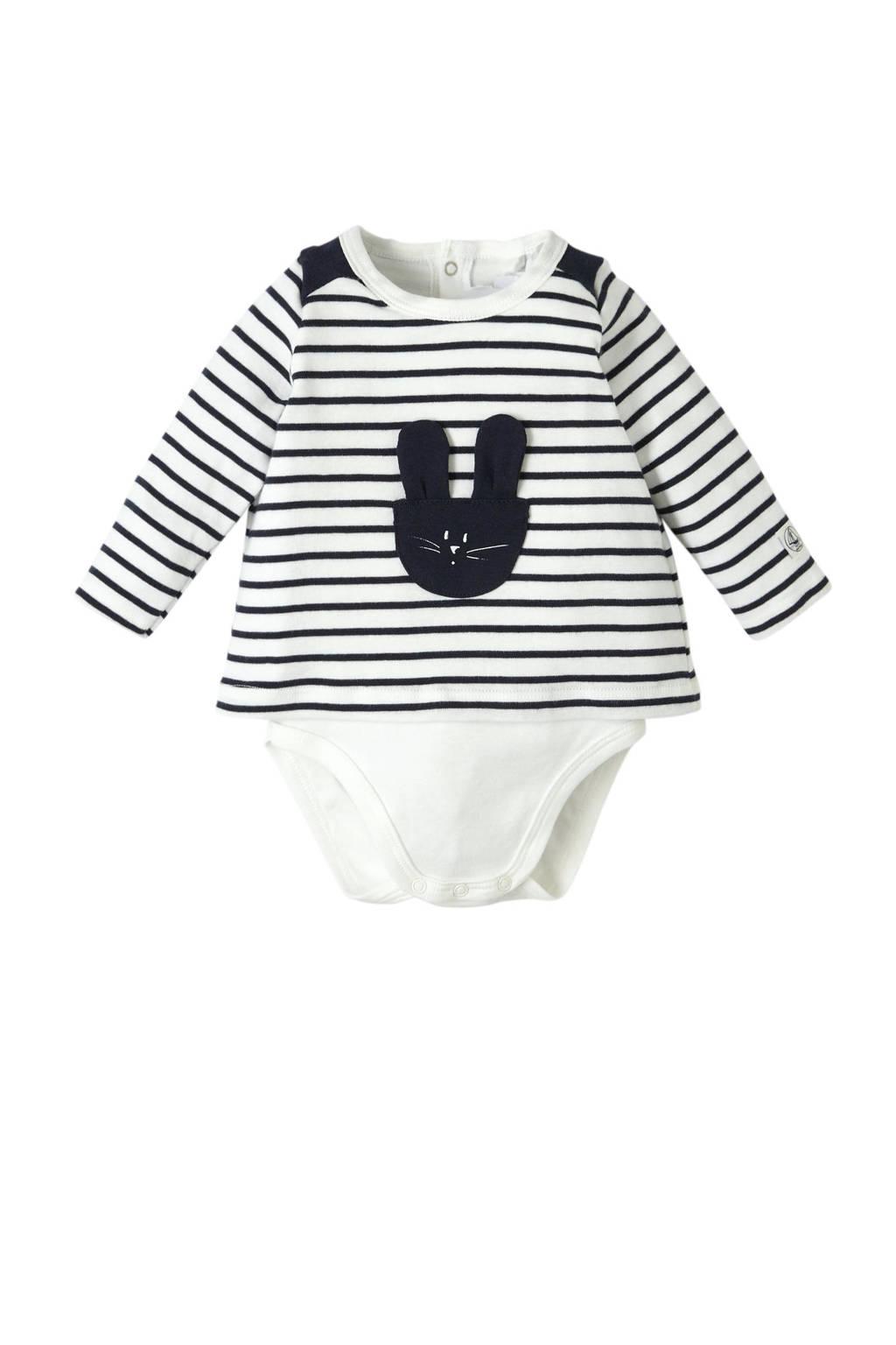 Petit Bateau newborn baby romper, Wit/blauw
