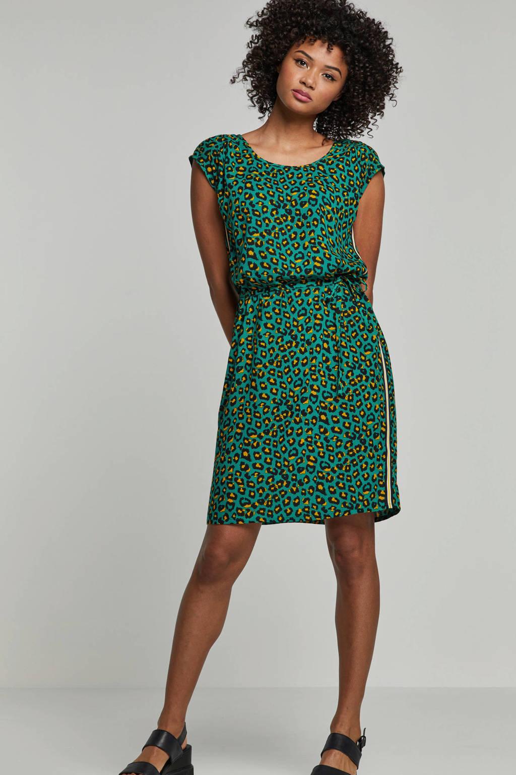 whkmp's beachwave jurk met panterprint en zijnaadbies, Groen/zwart/geel