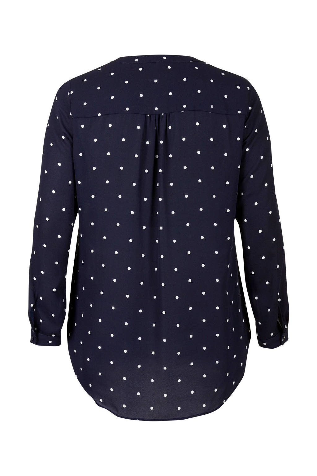 Miss Etam Plus gestipte top, Donkerblauw/wit