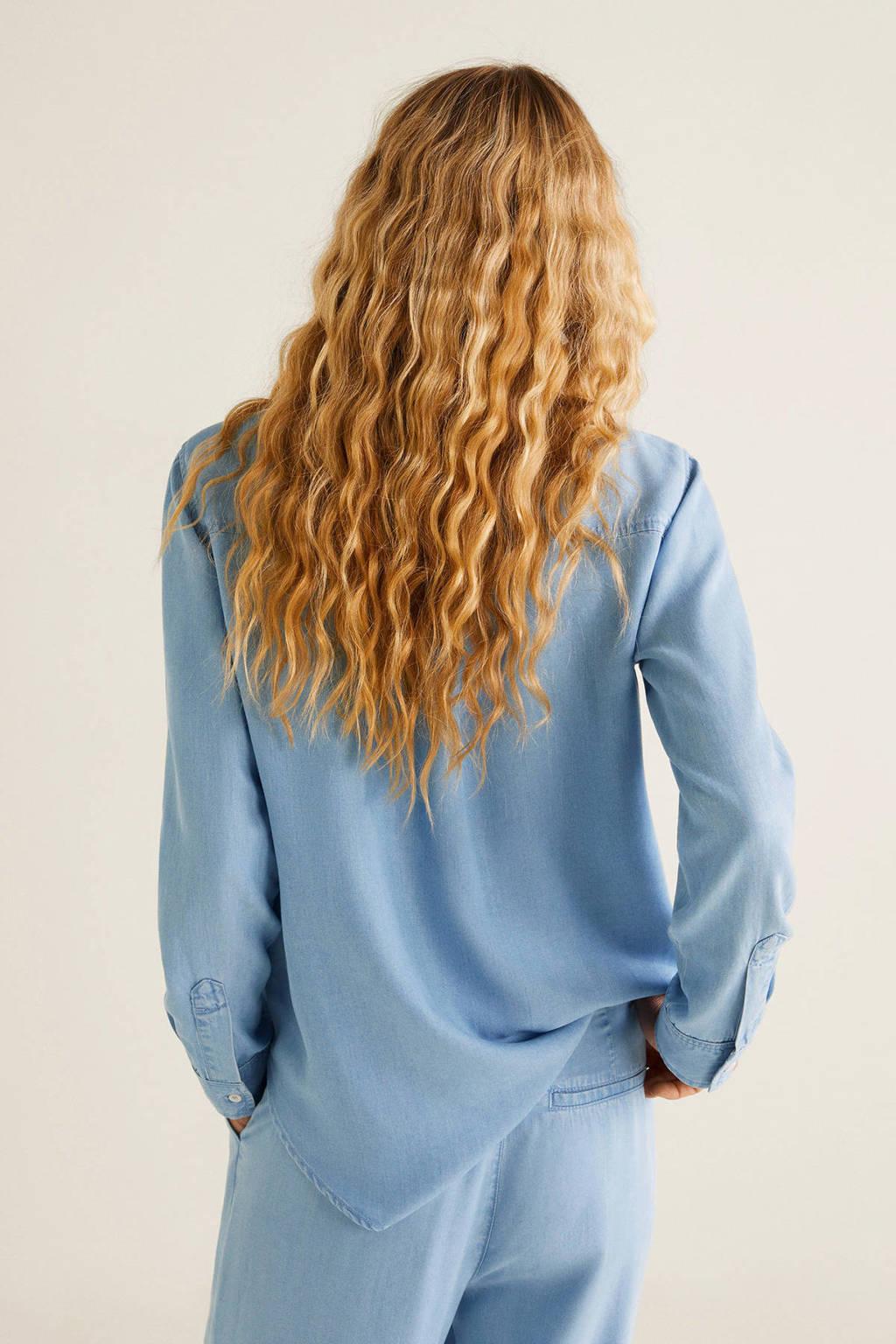 Mango blouse, changeant blauw