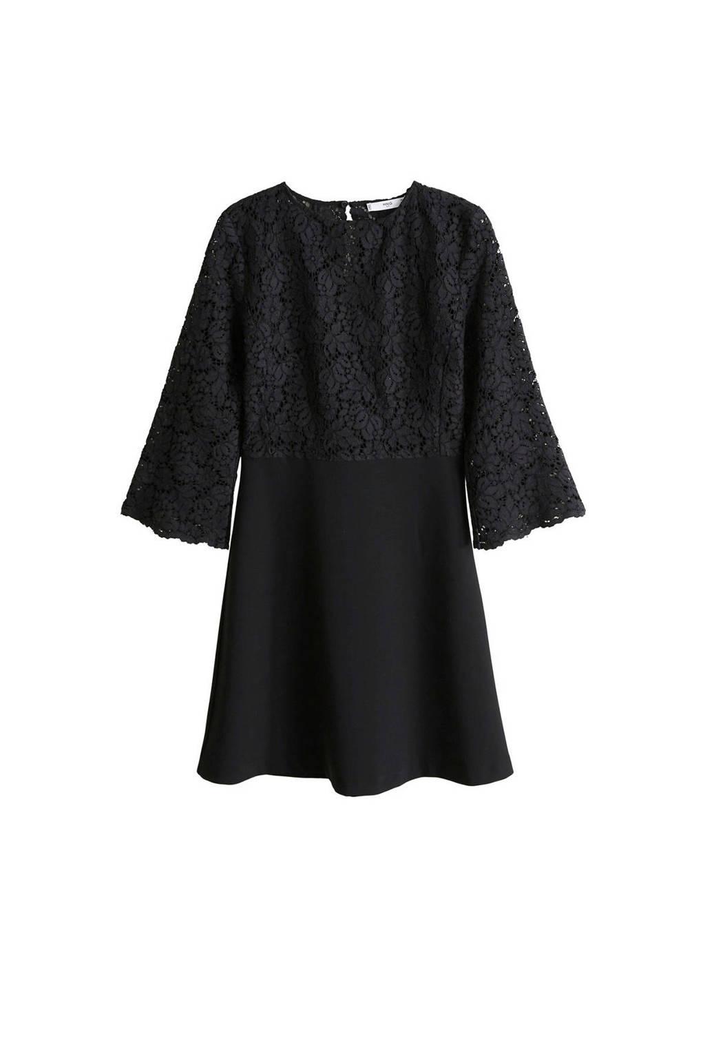 Mango jurk met kant zwart, Zwart