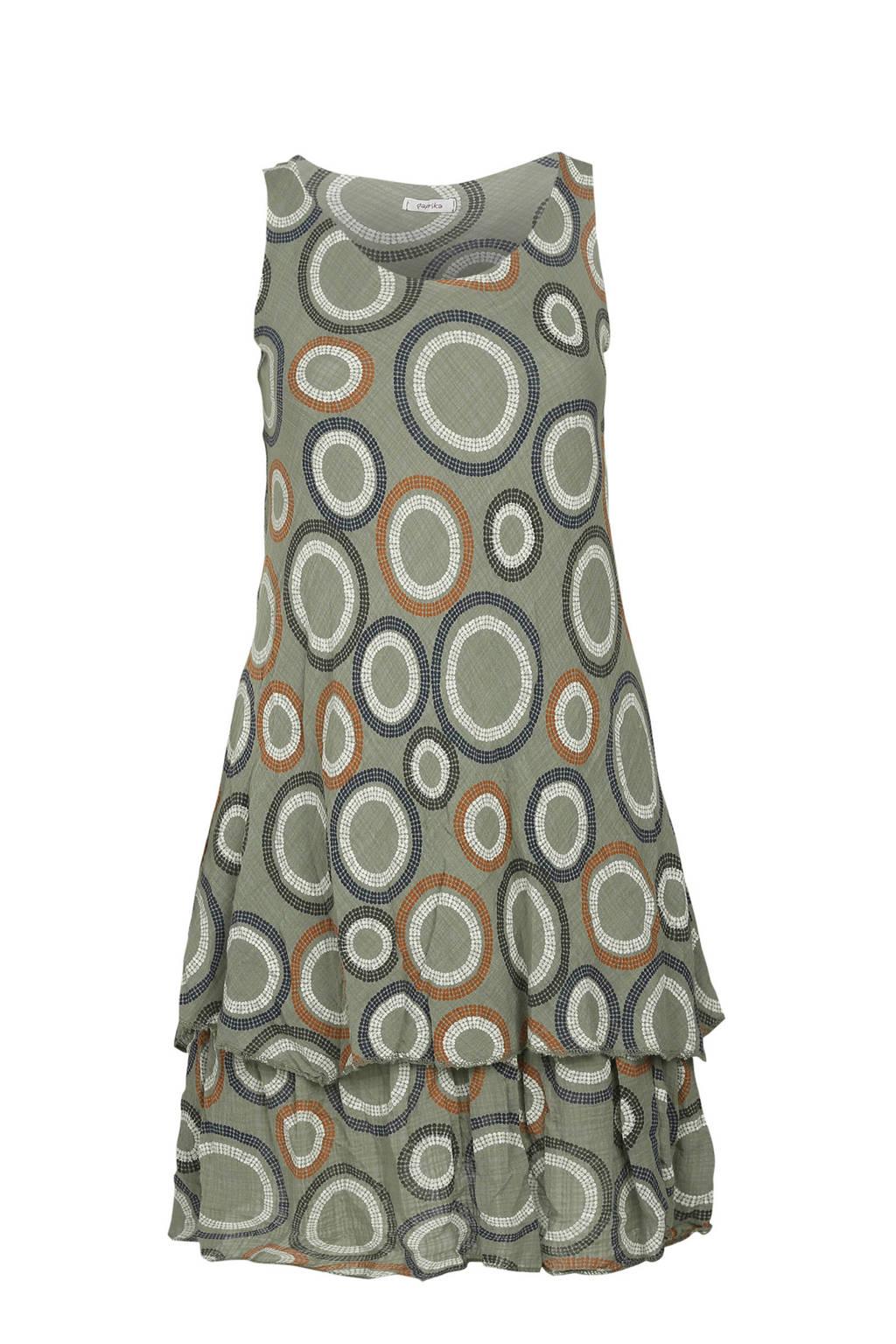 Paprika jurk met all over print kaki, Kaki