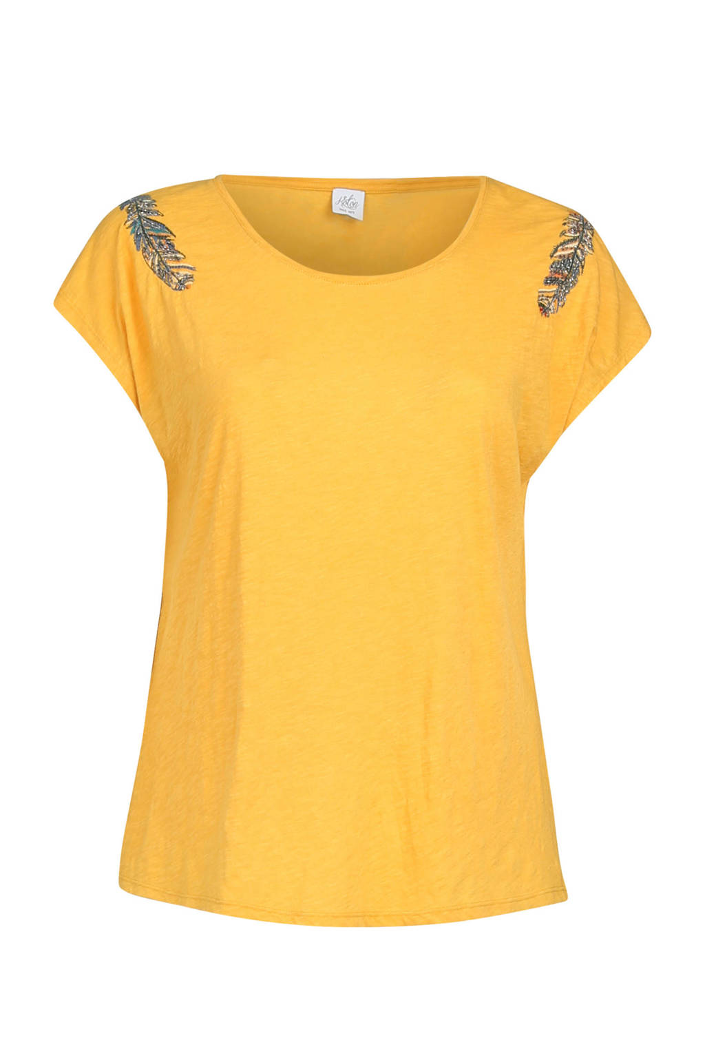 Paprika T-shirt met veer print, Okergeel