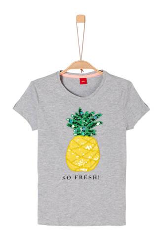 T-shirt met kraaltjes en pailletten grijs melange