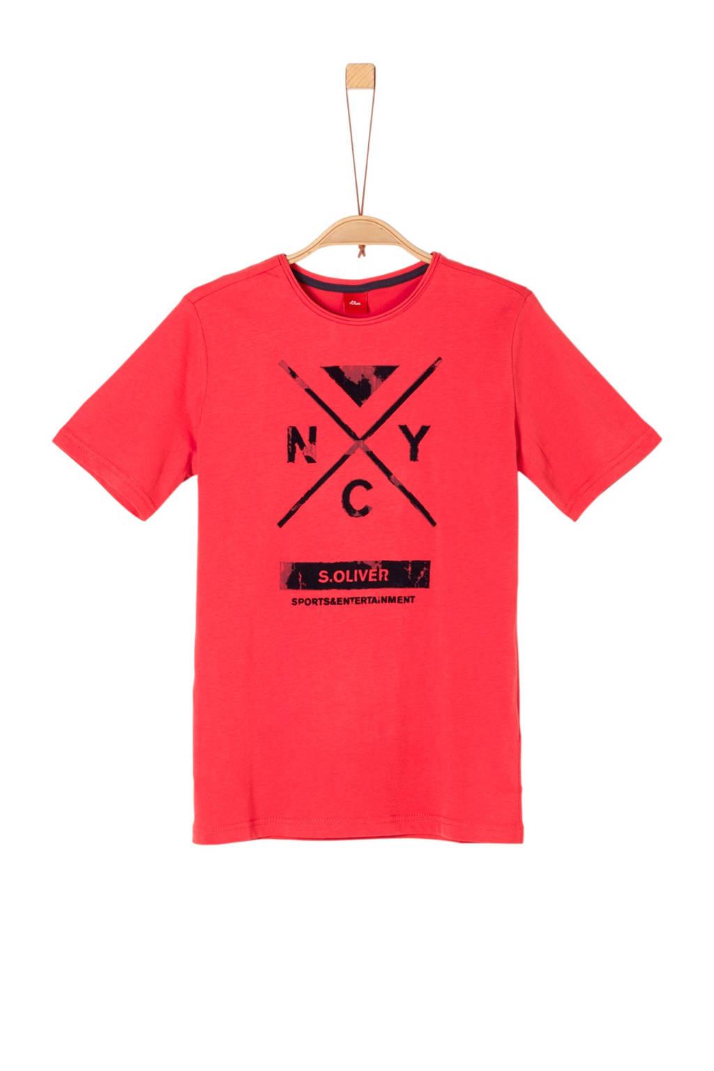 s.Oliver T-shirt met print rood, Rood