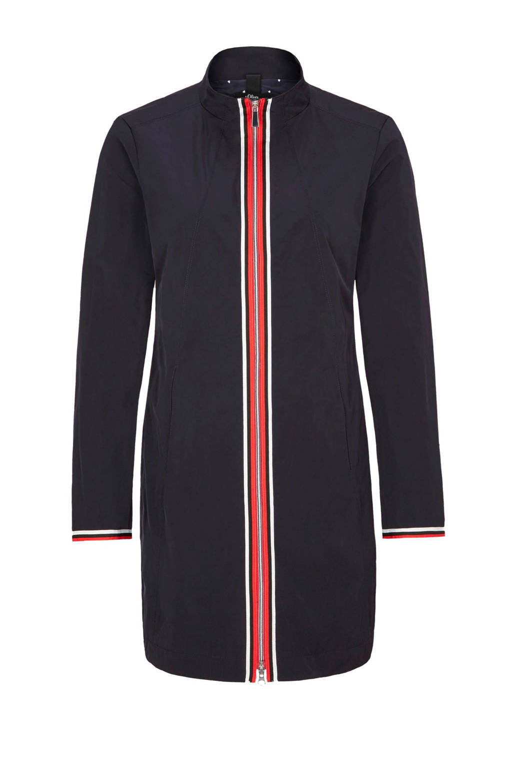 s.Oliver BLACK LABEL jas met opstaande kraag, Donkerblauw/rood/wit