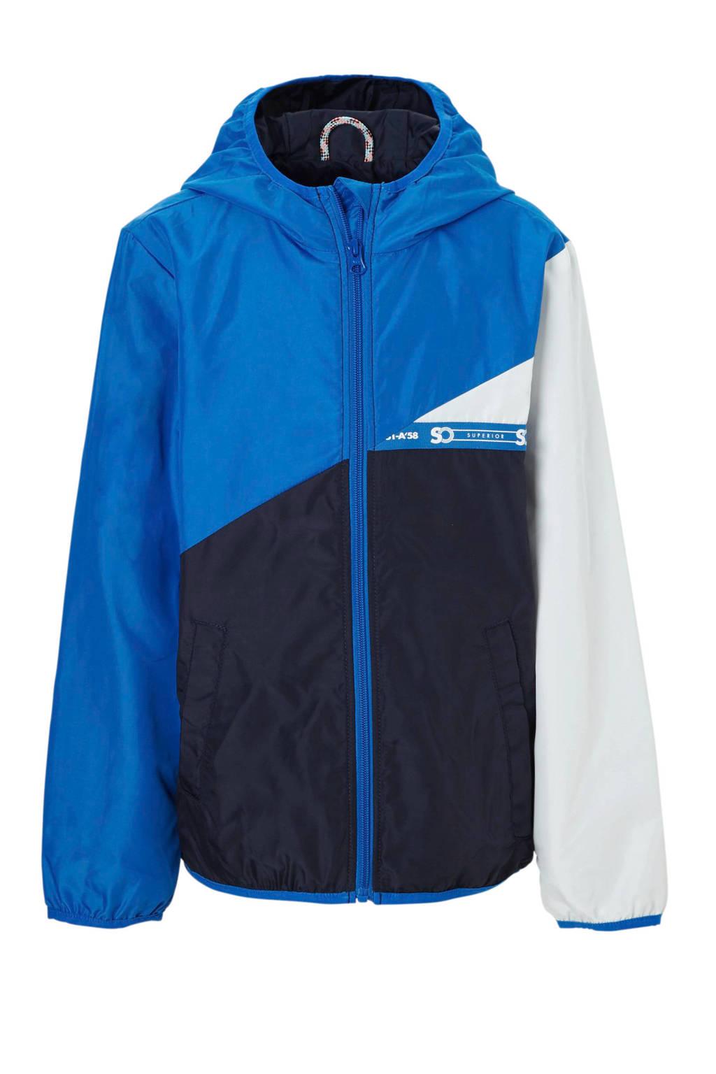 s.Oliver zomerjas met capuchon blauw, Blauw/donkerblauw/wit