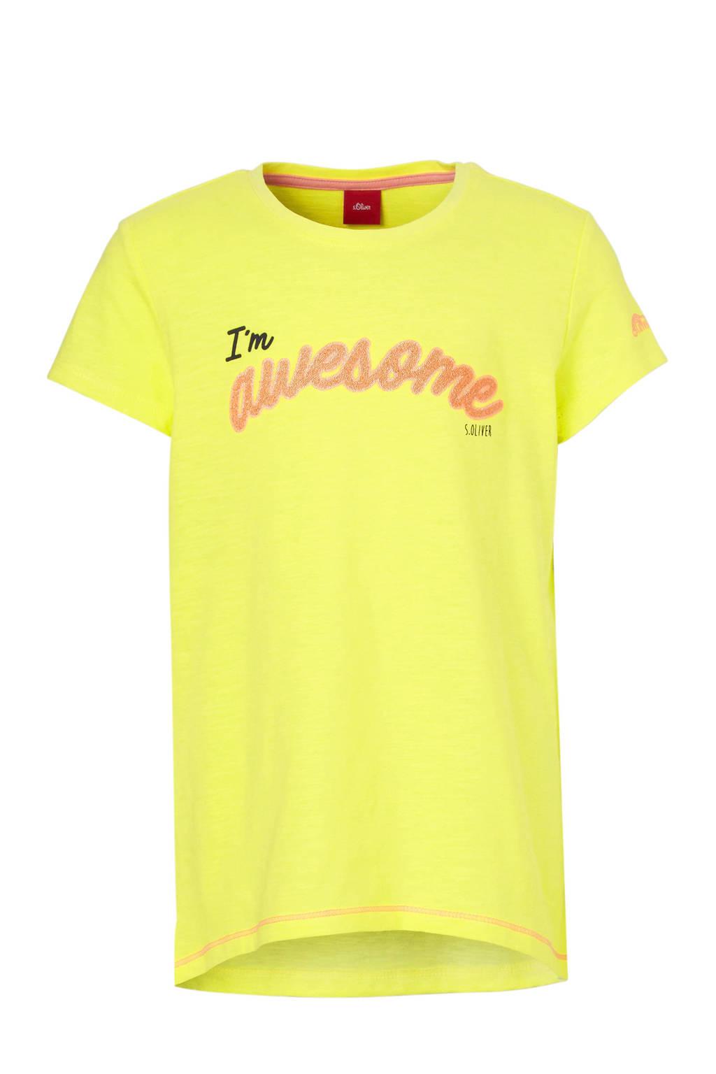 s.Oliver T-shirt met tekst geel, Lichtgeel