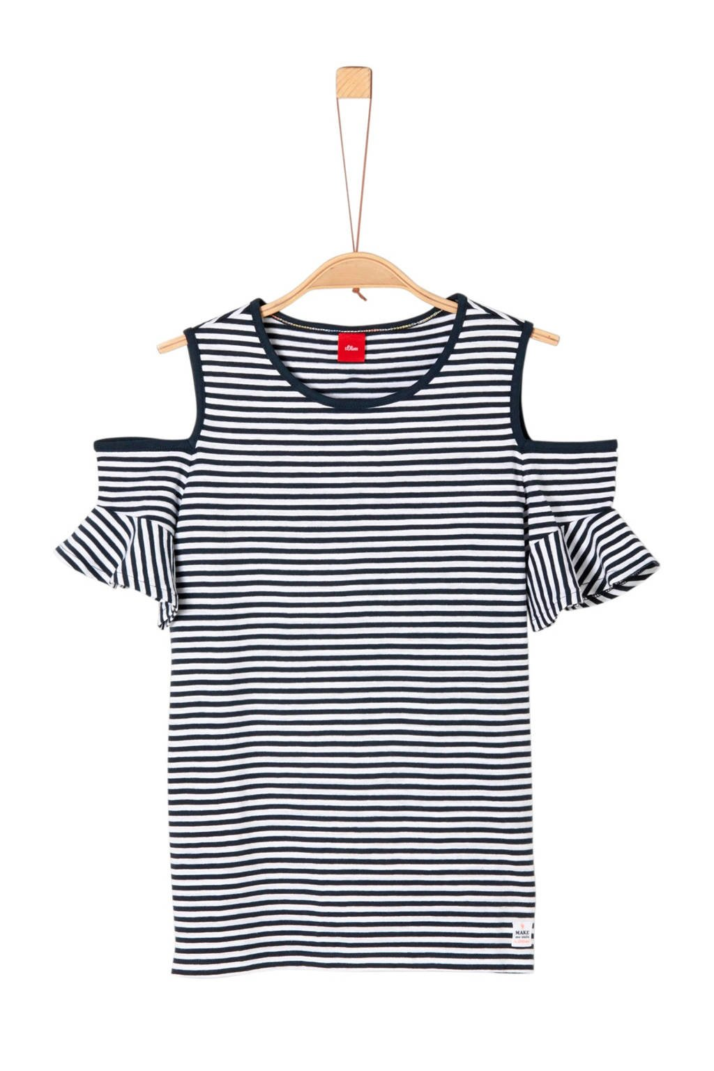 s.Oliver gestreept open shoulder T-shirt blauw, Donkerblauw/wit