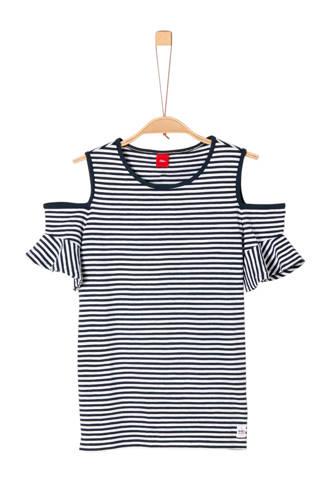 gestreept open shoulder T-shirt blauw