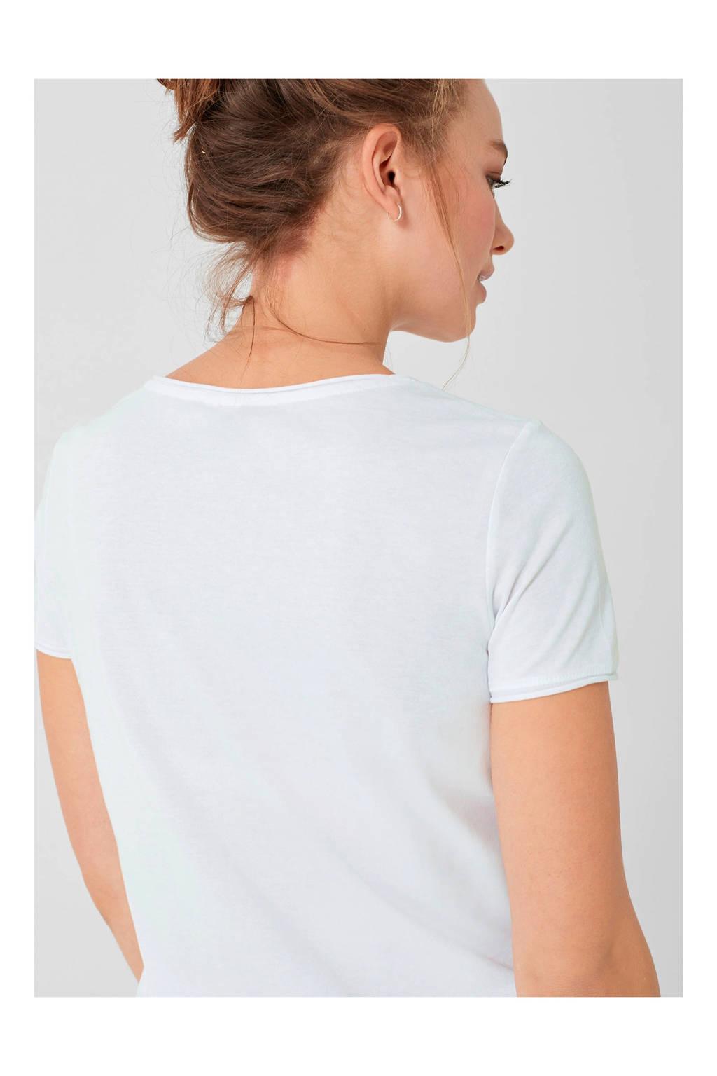 Q/S designed by T-shirt met tekst, Wit
