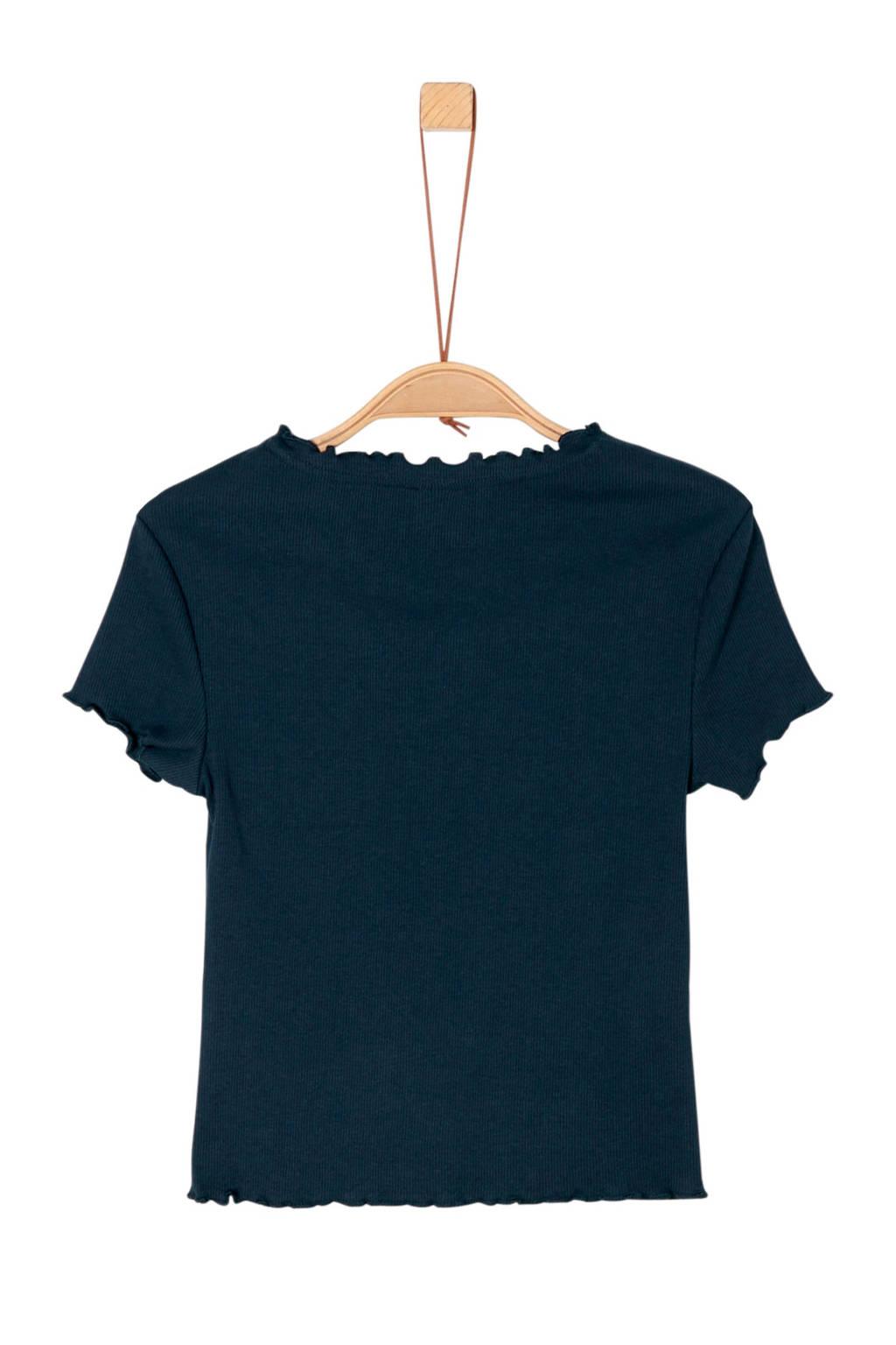 s.Oliver ribgebreid T-shirt met ruches donkerblauw, Donkerblauw
