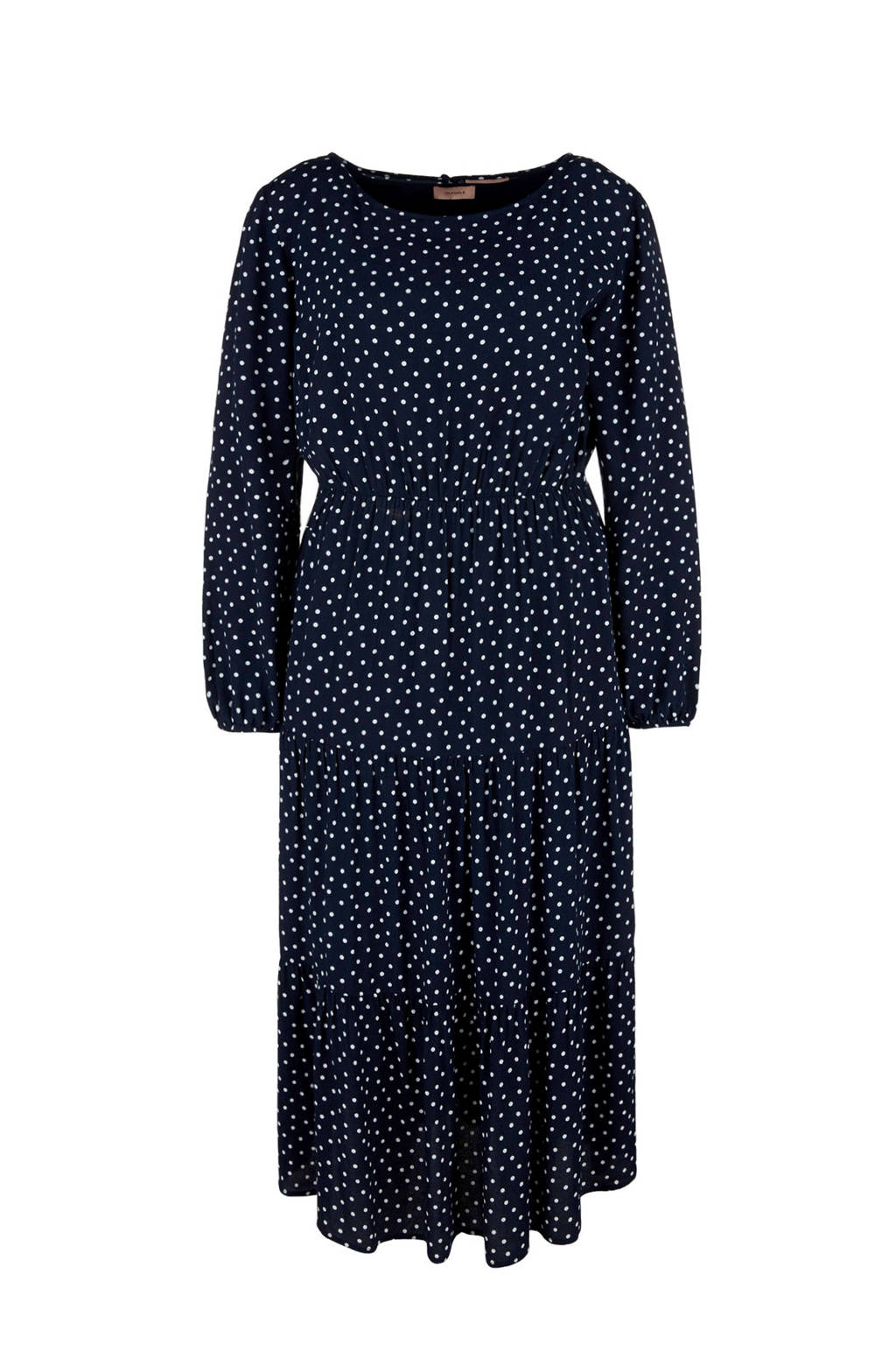 TRIANGLE jurk met stippen donkerblauw, Donkerblauw/witte