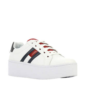 Icon leren plateau sneakers wit