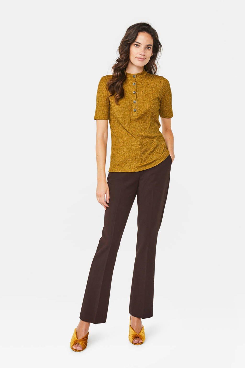 WE Fashion high waist straight fit pantalon donkerbruin, Donkerbruin
