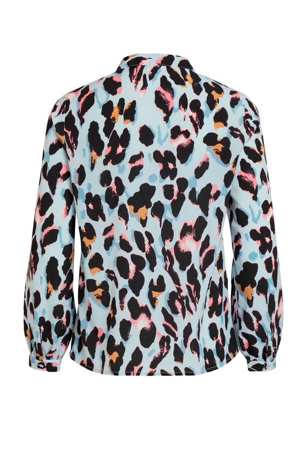 klassiek populaire winkels ongeslagen x VILA blouse met panterprint blauw | wehkamp