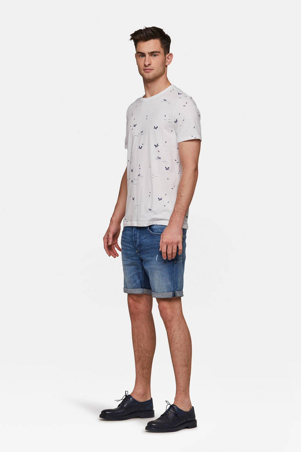 WE Fashion T-shirt met all over print wit, Wit