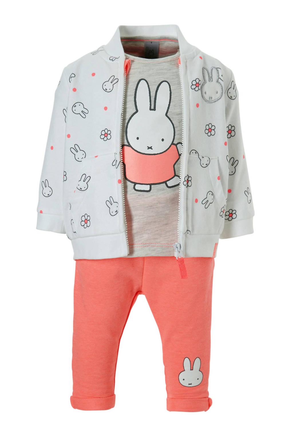 C&A nijntje sweatvest + T-shirt + joggingbroek, Wit/roze