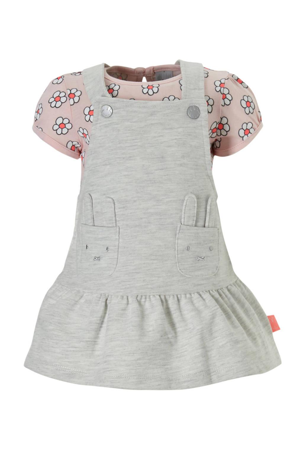 C&A nijntje overgooier + T-shirt, Lichtgrijs/roze