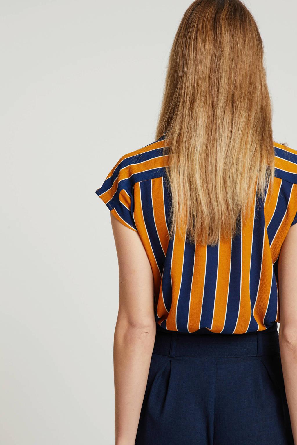 OBJECT gestreepte blouse oranje/donkerblauw, Oranje/donkerblauw