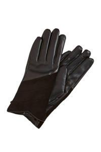 OBJECT leren handschoenen zwart, Zwart