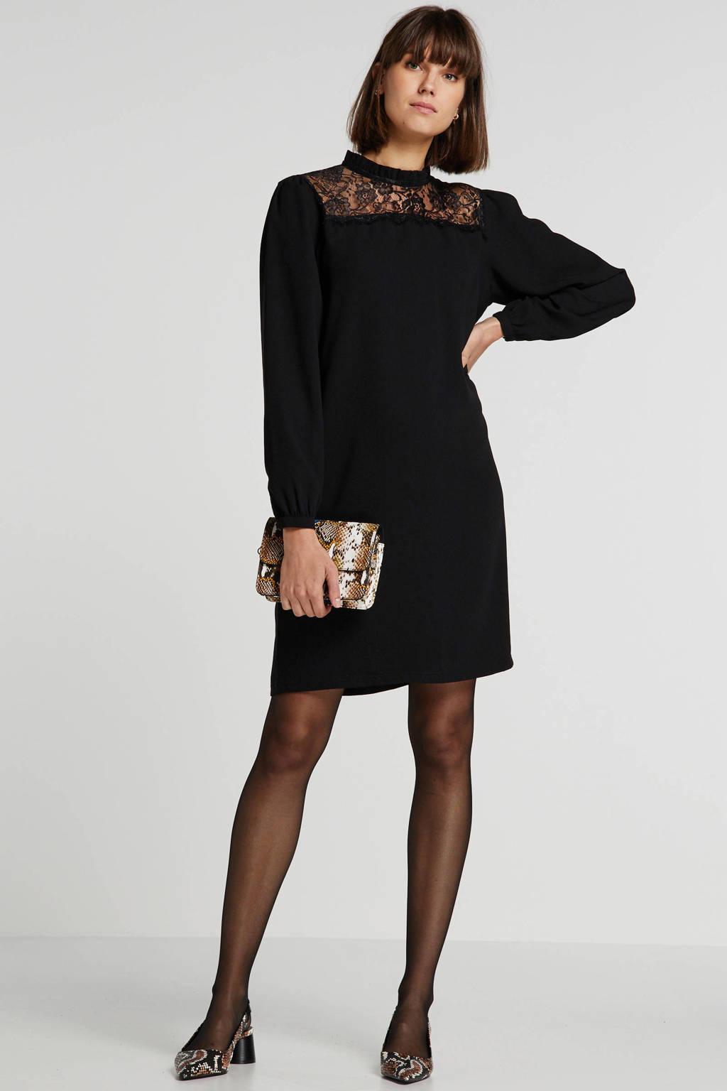 wehkamp jurk met kant zwart, Zwart