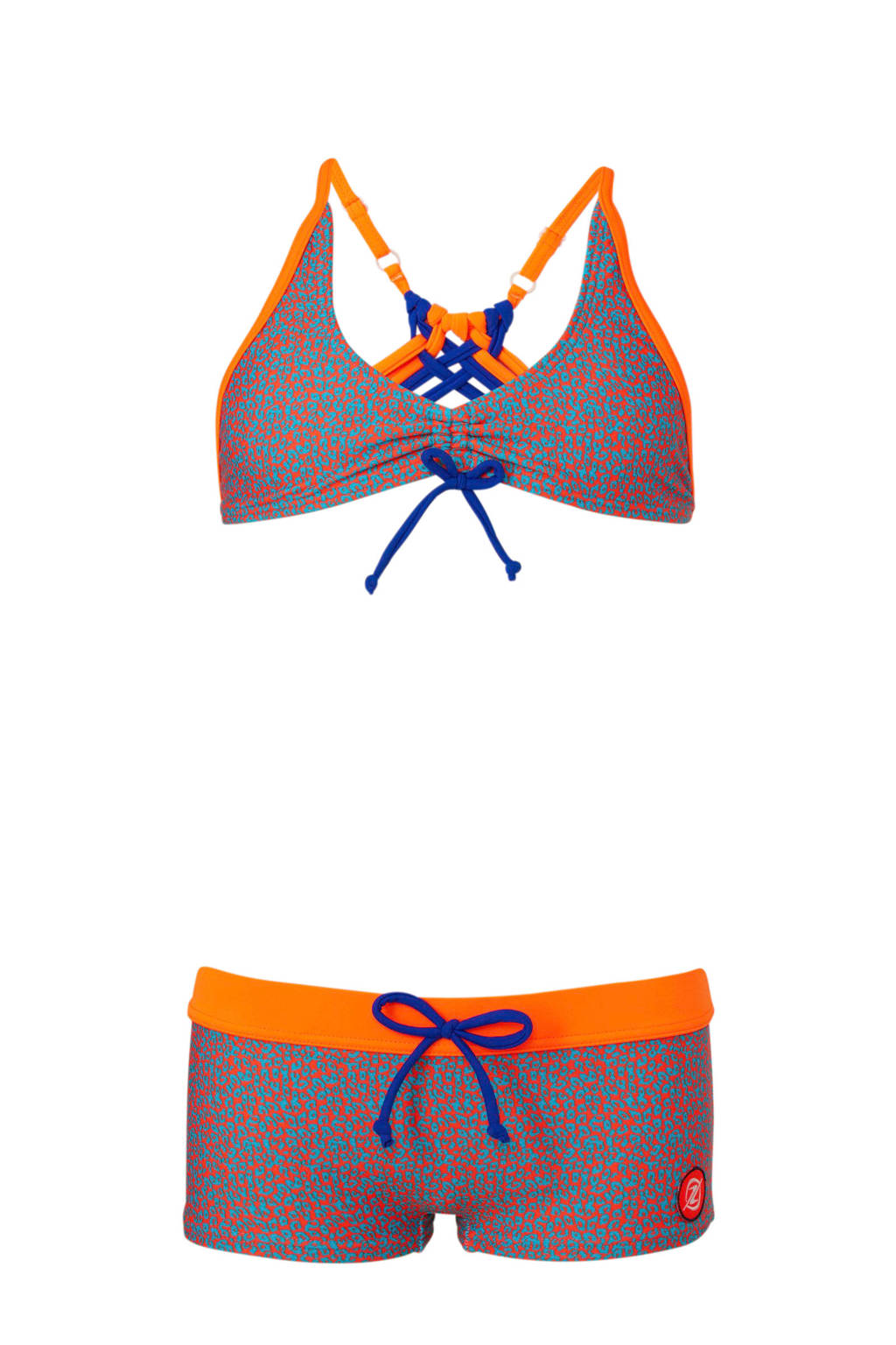 Zee & Zo bikini met all-over panterprint oranje/blauw, Oranje/blauw