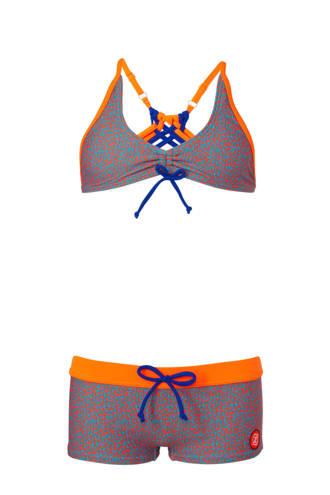 bikini met all-over panterprint oranje/blauw