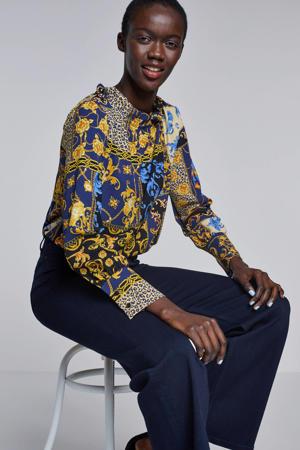 blouse met all over print goud/zwart/blauw