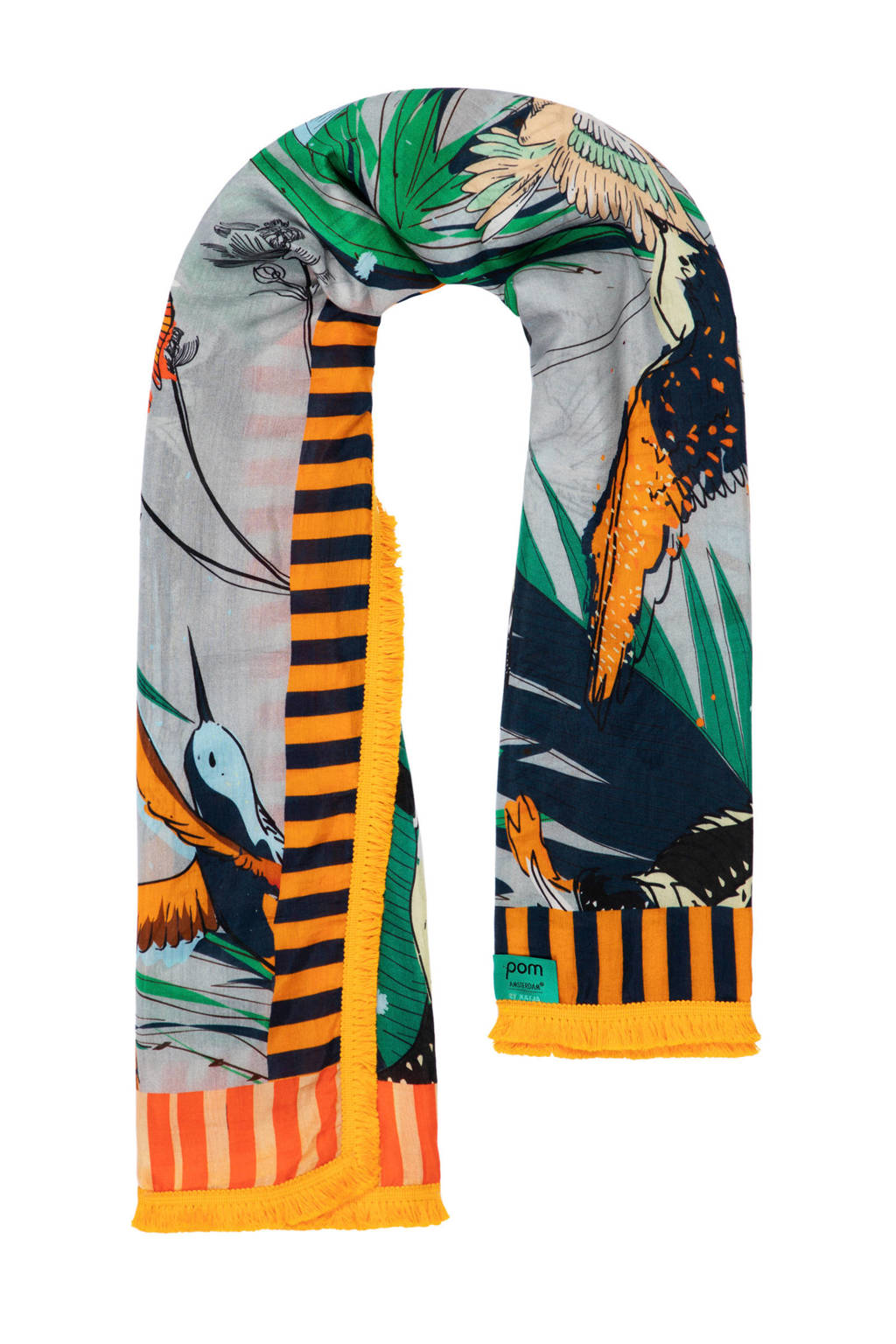 POM Amsterdam sjaal Birds Orange by Katja, Oranje/zand/groen