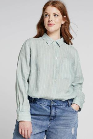 gestreepte linnen blouse lichtblauw/beige